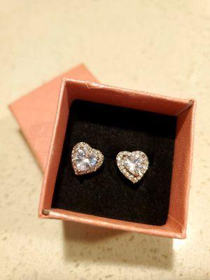 Princess 925 Silver Stud Earrings Heart CZ Diamond for Sale in Goodyear, AZ