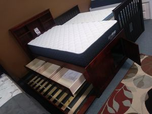 Bookcase twin captain's bed with trundle bed and three only 449 for Sale in Orlando, FL