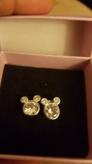 Mickey Mouse Shaped Rhinestone Disney Stud Earrings Sterling Silver for Sale in Indianapolis, IN