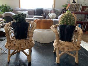Mini wicker chairs + cactus for Sale in Vancouver, WA