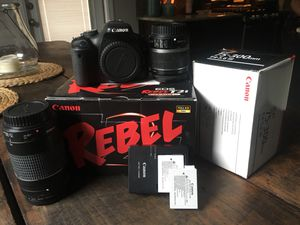 Canon Rebel T2i with lenses & batteries for Sale in Pflugerville, TX