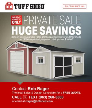 Tuff shed. Huge savings Event. for Sale in Mulberry, FL
