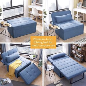 Folding Ottoman Sleeper Guest Bed, 4 in 1 Multi-Function Adjustable Guest Sofa Chair Sofa Bed (Light Blue) for Sale in Peoria, AZ