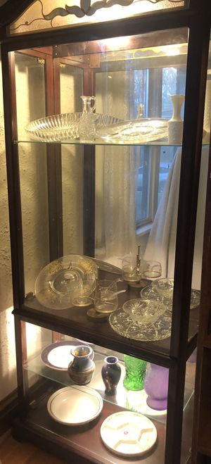 ***Authentic, Wooden/Glass, Top/Bottom Lighted China Cabinet for Sale in Brentwood, MO