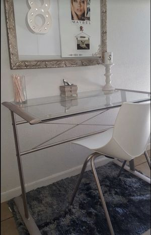 Glass top Vanity/Desk includes white chair seen for Sale in Los Angeles, CA