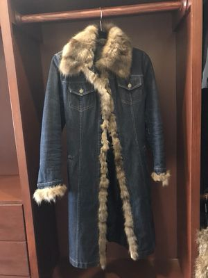 Jeans jacket with real sable fur with the belt !!! Made for sale  Italy for Sale