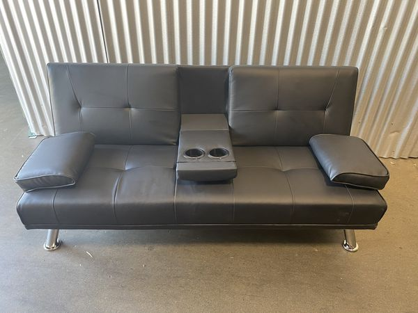 Sell as is! Scratch and rips! Faux Leather Modern Convertible Folding Futon Sofa Bed Recliner Couch w/Metal Legs, 2 Cup Holders, Black