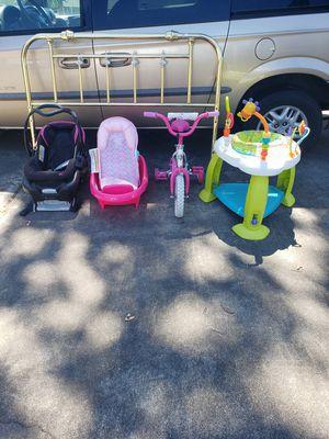 Kids car seat headboard bike bath tub exersaucer free!!! for Sale in Rainier, WA