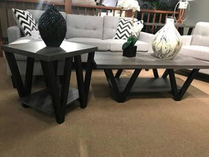 2-Piece Coffee Table and End Table, Distressed Grey and Black Color for Sale in Fountain Valley, CA
