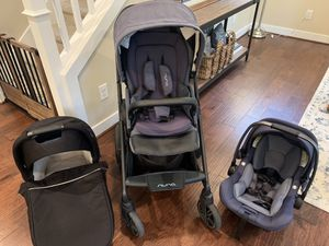 2019 Nuna Mixx Bleu Stroller & Pipa Lite XL travel system including bassinet and base. for Sale in Issaquah, WA