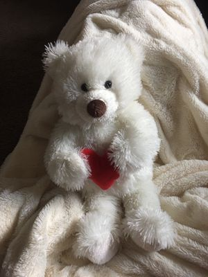 16 inch white teddy bear holding a heart stuffed animal. for Sale in Bensalem, PA