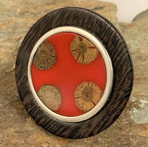 Nature Sterling & Wood Disc Ring with Red Enamel for Sale in Roswell, GA