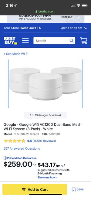 Google WiFi Dual-Band Mesh Wi-Fi System for Sale in Sugar Land, TX