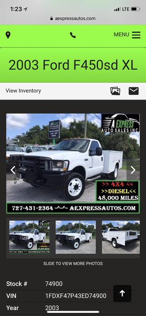 2003 FORD F450 V8 DIESEL ONLY 48K MILES SERVICE UTILITY TRUCK ONE OWNER FL GOVERNMENT TRUCK for Sale in Palm Harbor, FL