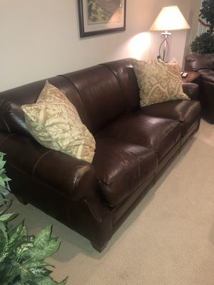 3 piece brown leather couch set for Sale in Sterling, VA