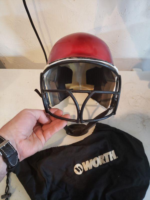 Softball Worth Helmet w bag, and gloves