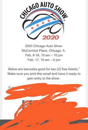 2 car auto show tickets for Sale in Chicago, IL