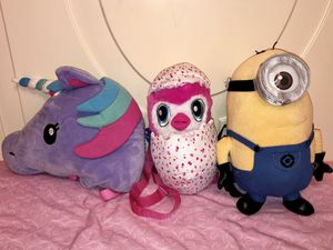 Unicorn, Hatchimals & Minion Stuffed Plush Backpacks for Sale in Westland, MI