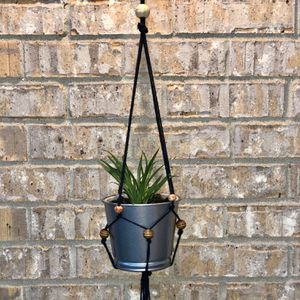 Navy Colored Macrame Hanging Planter for Sale in Woodridge, IL