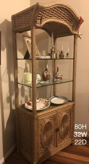 Lovely lighted Etagere with thick glass shelves and lower storage for Sale in Chester Springs, PA