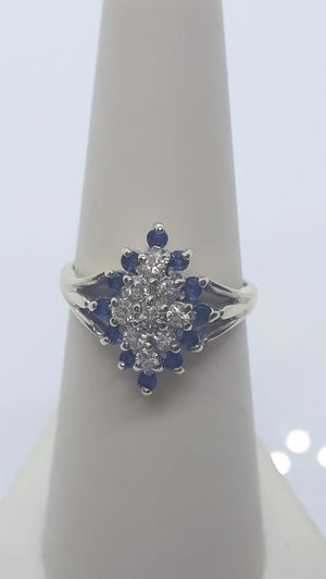 14k White Gold Sapphire & Diamond cluster ring 4.2 grams size 6.5 for Sale in Port St. Lucie, FL