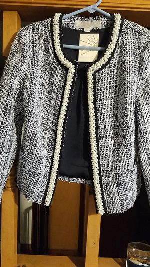 Blue and white jacket with white beads for Sale in Victoria, VA