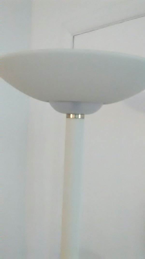 Two working lamps one floor lamp and one globe desk lamp, floor lamp 6' feet tall
