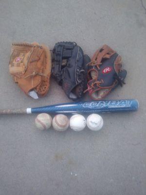 Baseball Gloves Bat & Baseballs for Sale in Wilmington, CA