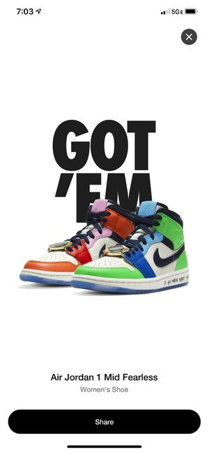 Air Jordan 1 mid fearless melody Ehsani W 10.5 (9 Men) for Sale in Los Angeles, CA