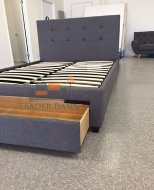 Brand New Queen Size Grey Upholstered Platform Bed Frame w/Storage Drawer for Sale in Silver Spring, MD