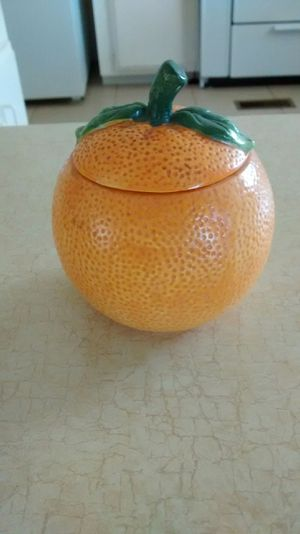 Orange themed candle holder with new candle vintage for Sale in Perris, CA