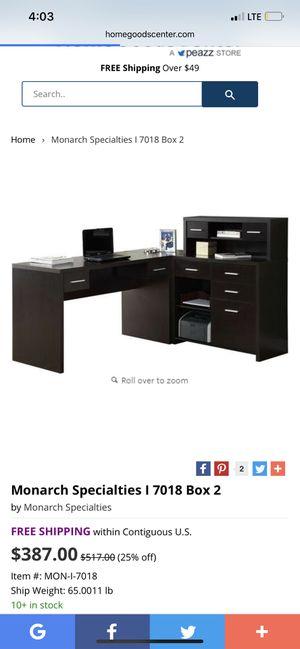 Monarch Cappuccino Office L Desk for Sale in Malden, MA