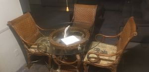 Glass top with antique and 4 chairs for Sale in Marietta, GA