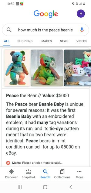 Peace Bear beanie baby ( in near mint cond.) for Sale in Smyrna, GA