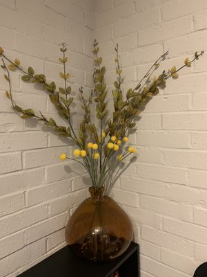 Huge Yellow glass vase with artificial flowers. for Sale in Ashland, MA