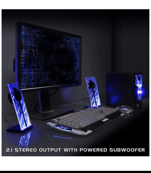 GOgroove BassPULSE 2.1 Computer Speakers with Blue LED Glow Lights and Powered Subwoofer - Gaming Speaker System for Music on Desktop , Laptop , PC w