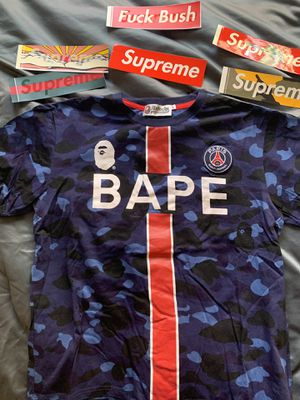 Bape x PSG Tee Navy SIZE M for Sale in Bloomington, CA