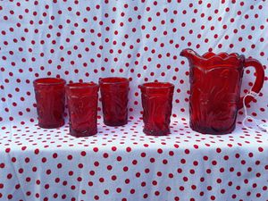 Ruby red mini juice set for Sale in Port Richey, FL