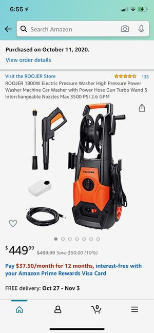 roojer 1800w electric pressure washer high pressure power washer for Sale in Queens, NY