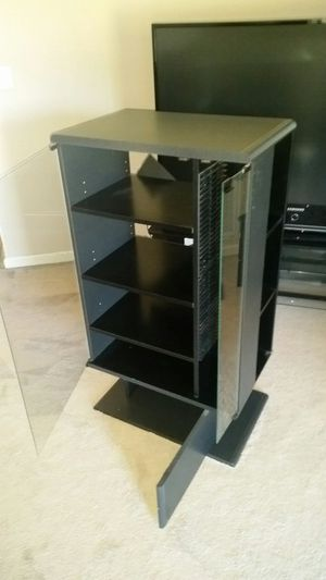 Stereo system cabinet with cd/DVD disc rack and bottom storage compartment for Sale in Murfreesboro, TN
