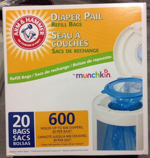 Munchkin Arm & Hammer Diaper Pail Snap, Seal and Toss Refill Bags, 20 Bags. for Sale in La Vergne, TN
