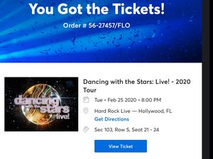 DANCING WITH THE STARS LIVE 2020 Tuesday February 25 2020 8 p.m. * 4 Tickets * Section 103 * Row S * SEATS 21,22,23,24* for Sale in Boca Raton, FL