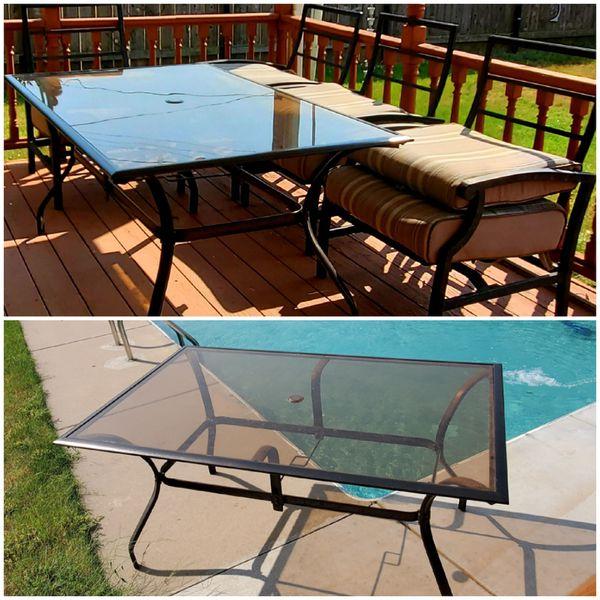 Smoked glass patio table set