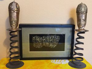 Wall decor and two candle holders with decorative candles for Sale in Tampa, FL