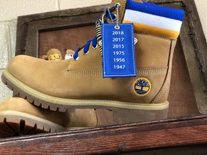 TIMBERLAND & MITCHELL NESS MEN'S NBA GOLDEN STATE WARRIORS BOOTS IN WHEAT for Sale in Grand Prairie, TX