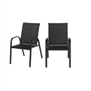 Mix and Match Black Steel Sling Outdoor Patio Dining Chair in Black (2-Pack) for Sale in Umatilla, FL
