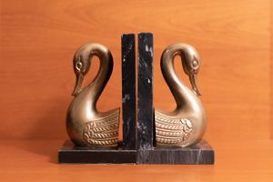 Vintage Andrea by Sadak Brass Swan and Marble Bookends for Sale in Surprise, AZ