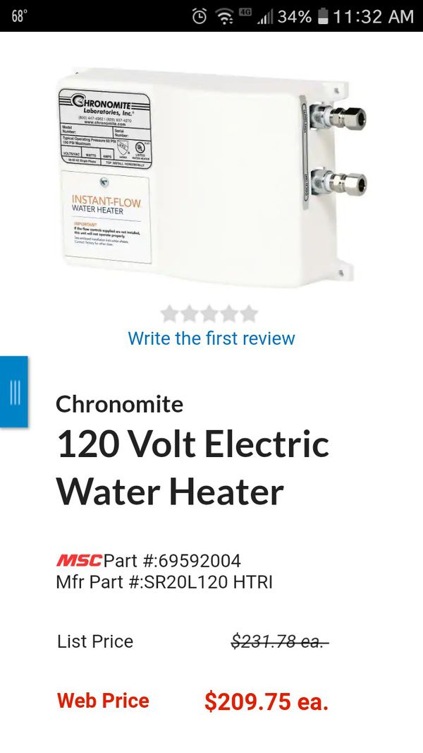Brand new never used Instaflow water heater Chronomite Laboratories Inc.