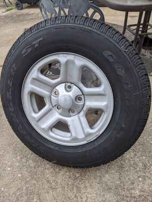 Set of 5 Jeep Wrangler JK 16x7 steel wheels/Goodyear ST 255/75r16 for Sale in Baltimore, MD