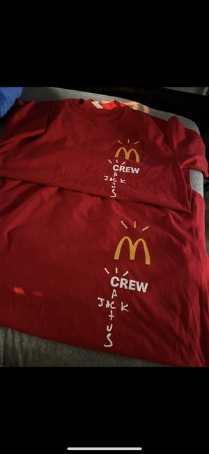 TRAVIS SCOTT MCDONALDS CREW SHIRT SIZE L AND XL (two of each) for Sale in Los Angeles, CA
